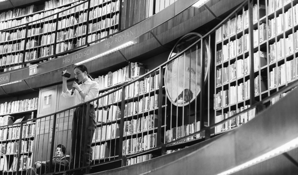 The Speaker, performance view, Stadsbibliotek Stockholm, 2018